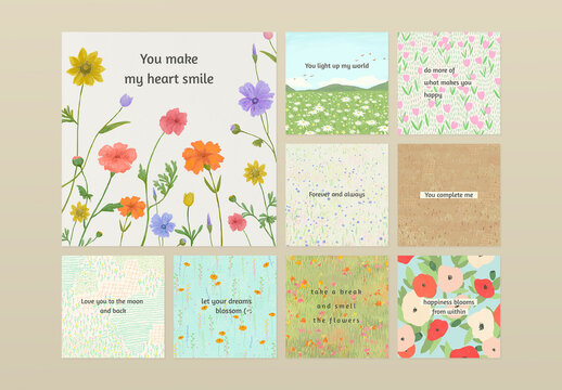 Inspirational Quote Template on Floral Background