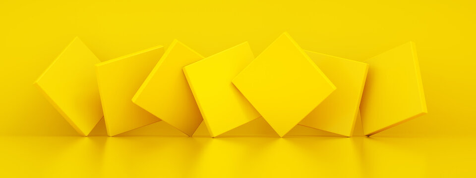 Abstract background with yellow geometric shapes, 3d rendering, panoramic image