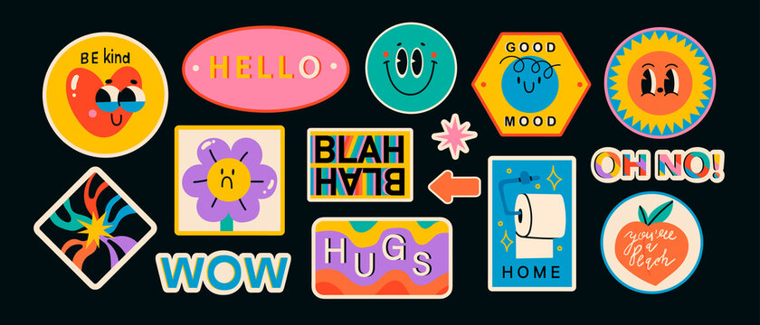 Set of Various Patches, pins, stamps or Stickers. Abstract funny cute comic Characters. Different Phrases and words. Hand drawn trendy Vector illustrations. Cartoon style. All elements are isolated.