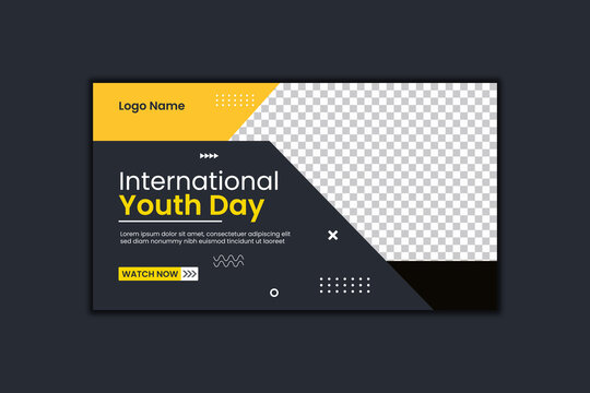International Youth day Youtube Thumbnail Design and Web Banner