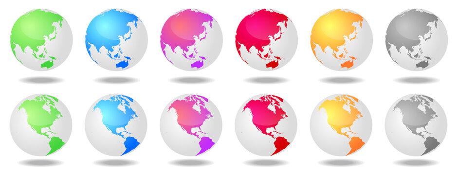 カラフルな日本とアメリカ中心の地球白背景セット