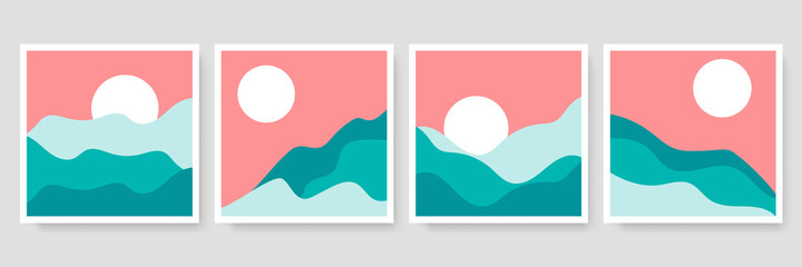 Set of three Abstract Aesthetic mid century modern landscape Contemporary boho poster cover template. Minimal and natural Illustrations for art print, postcard, wallpaper, wall art.