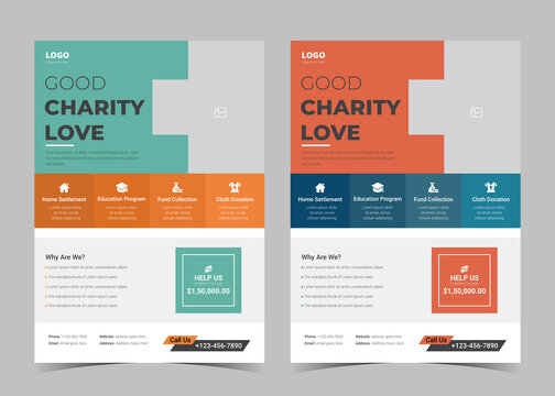 Charity flyer template. Charity flyer examples. Fundraising poster leaflet template. Helping charity poster design