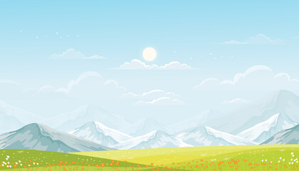 Spring landscape in countryside with green meadow on hills, blue sky,fluffy clouds and sun, Vector cartoon banner of village with grass field and wildflower in sunny Summer, Holiday natural background