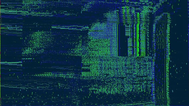 Green blue digital glitched abstract texture of TV signal glitch error and pixel sorting effect in colorful psychedelic colors. 3D illustration of pixelated video damage chaos and cyberpunk background