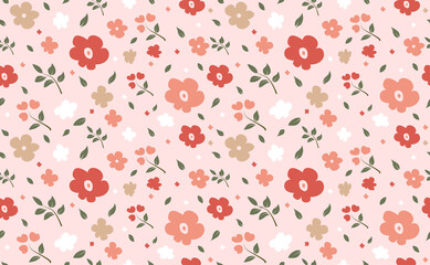 Beautiful flowers pattern pink background design, Abstract seamless floral and leaf vector