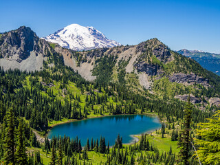 Crystal Lake with Mount Rainier on background Wall mural