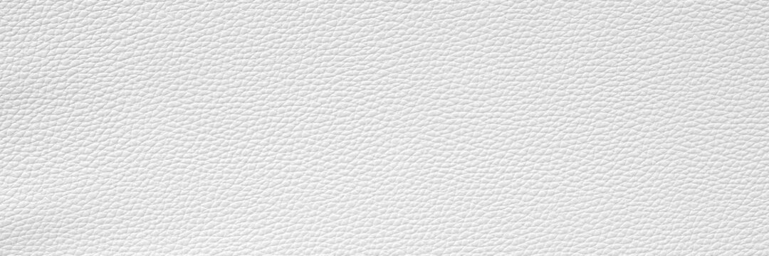 White leather and texture background. Wide banner