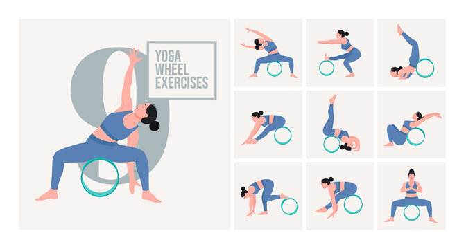 Yoga poses with yoga wheel. Young woman practicing Yoga pose. Woman workout fitness, aerobic and exercises. Vector Illustration.