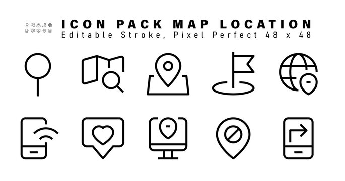 Icon Set of Map Location Line Icons. Contains such Icons as Location, Address, Mobile Wifi, Favorite, Pin etc. Editable Stroke. 48x48 Pixel Perfect