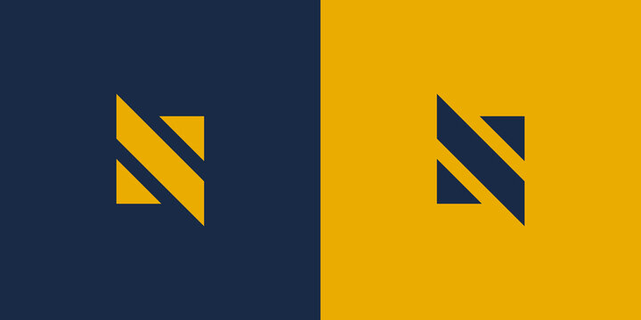 Simple Initial Letter N and S Logo. Blue and Yellow Geometric Shape isolated on Double Background. Usable for Business and Branding Logos. Flat Vector Logo Design Template Element.