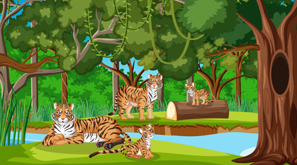 Forest or rainforest scene with tiger family