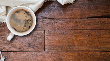 Cup of coffee on table wooden table