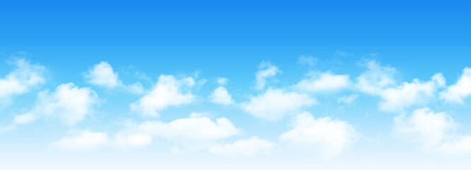 Fototapeta Sunny day background, blue sky with white cumulus clouds, natural summer or spring background with perfect hot day weather vector illustration. obraz