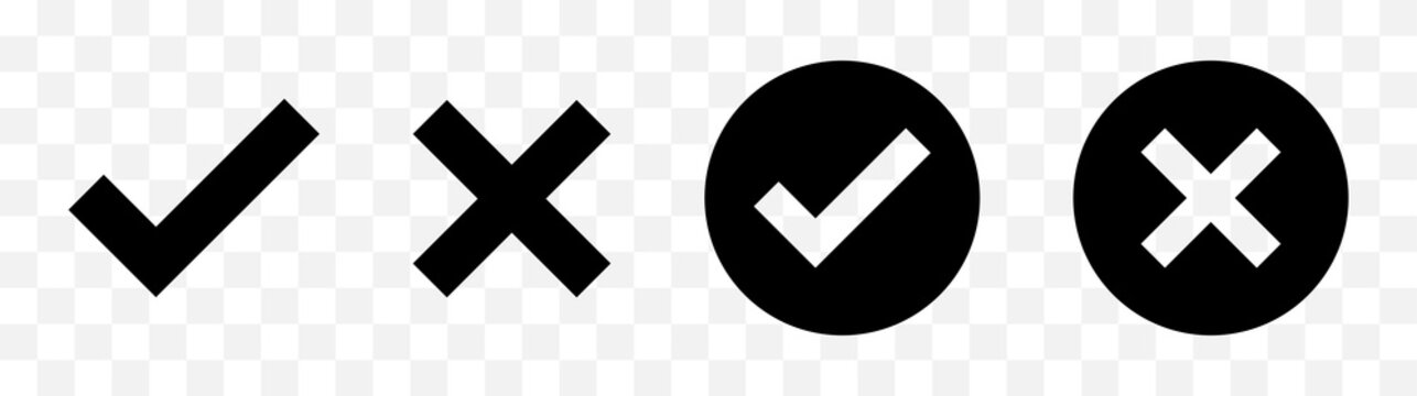 Check mark, Cross mark black icon set. Isolated checkmark symbol, right and wrong sign concept. Vector illustration.