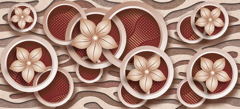 3D Photomural wallpaper background, High quality rendering decorative wallpaper illustration, 3D flower Living room wallpaper.