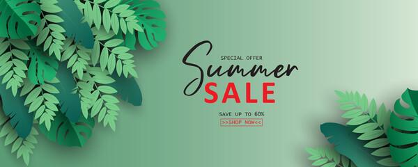 Fototapeta Elegant summer sale banner with tropical leaf theme obraz