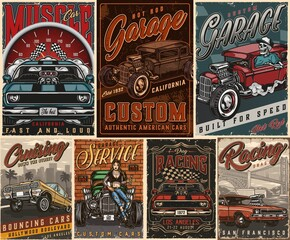 Custom cars vintage posters composition