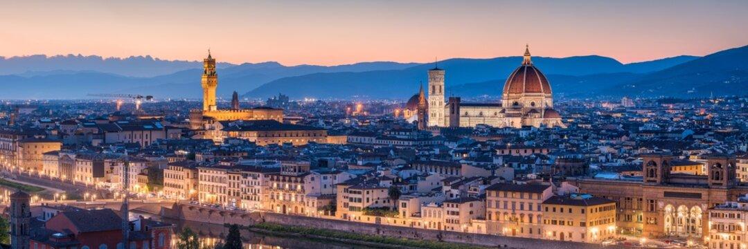 Florence skyline panorama at night, Tuscany, Italy