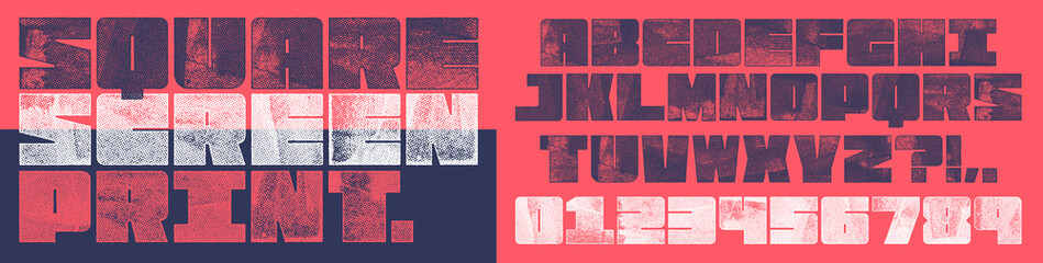 Obraz Screen Print Square Font. Works well at small sizes. Detailed individually textured characters with an eroded halftone, screen print texture. Unique design font - fototapety do salonu