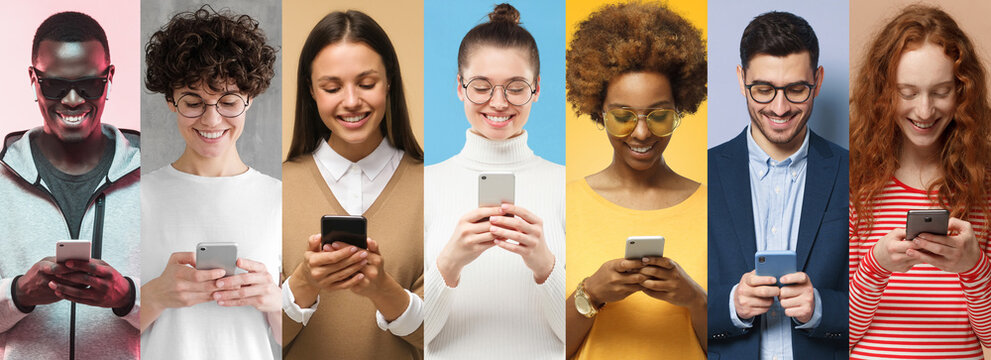 Phone people set. Group of smiling diverse men and women texting or browsing with smartphones, isolated on colorful backgrounds