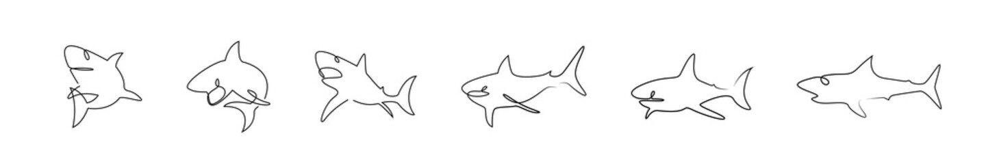 Countinuous one line drawing sharks silhouete icons set. Shark logo set line art. One line art template with sharks. Hand drawn minimalism style vector illustration.