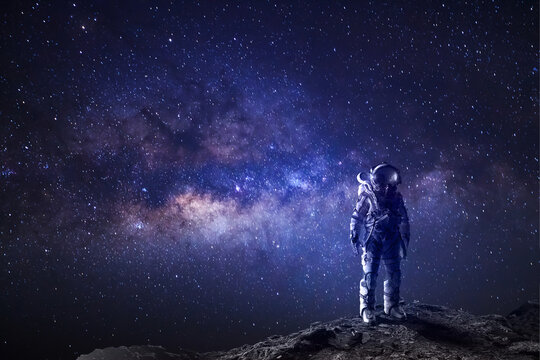 Astronaut in outer space fantasy background, galaxy universe