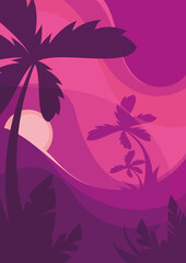 Poster Template With Palm Trees Sunset Summer Concept Flat Design