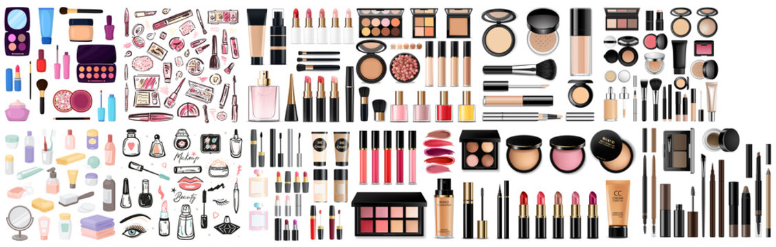 Big set of different realistic packages for decorative cosmetics. Blank template of containers for eye shadow, lipstick, powder, nail polish and mascara. Vector illustration isolated on background