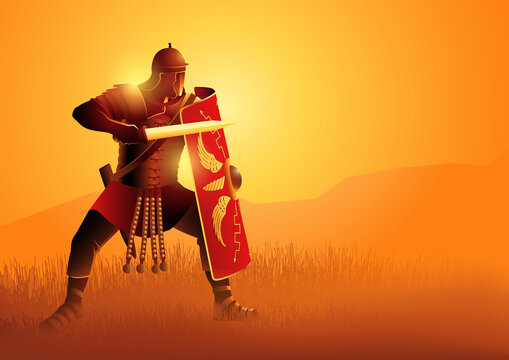 Ancient Rome legionnaire in a position ready to fight