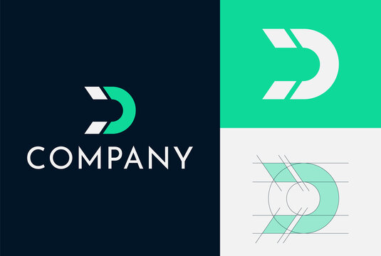 Logo Design For A Magnet Company. Letter D And Magnet Shape Are Combined. Clean And Simple. Grid system. Green and blue colors are used.