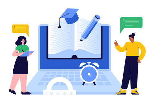 Online education scene concept. Students read ebooks, study remotely using computer. Distance learning from home, e-learning service. Science research, prepare for exams. Vector character illustration