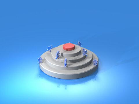 ライバルとの競争を表すアブストラクト。3Dレンダリングイラスト。