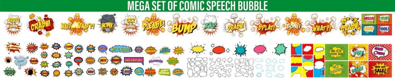 Set Of Comics Explosion Bubbles, Color Comic Book Page Template, Comic speech bubbles set, comic wording sound effect set design for comic background, Comic book sound effect, speech bubble in pop art