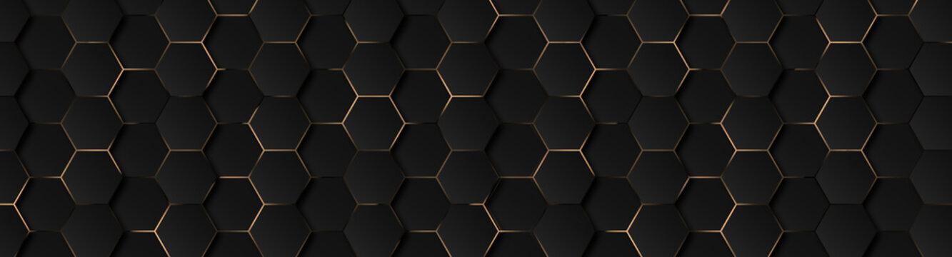 Luxury hexagonal abstract black metal background with golden light lines. Dark 3d geometric texture illustration. Bright grid pattern. Pure black horizontal banner wallpaper. Carbon elegant wedding BG