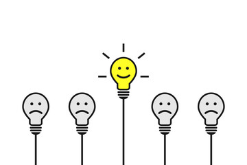 Fototapeta Smiling light bulb being different and standing out. Positive thinking, being able to stand out and to think differently concept. Bright and shiny lightbulb with happy attitude as idea symbol. obraz