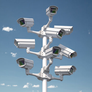 CCTV security cameras on the pole. Safety and protection concept.