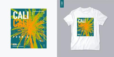 Fototapeta California colorful vector graphic t-shirt design with palm tree, poster, print obraz