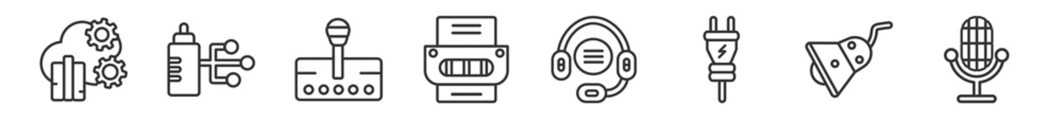 Obraz outline set of technology line icons. linear vector icons such as cloud analysis, wi connection, transmission, office printer, telemarketing, retro microphone. vector illustration. - fototapety do salonu