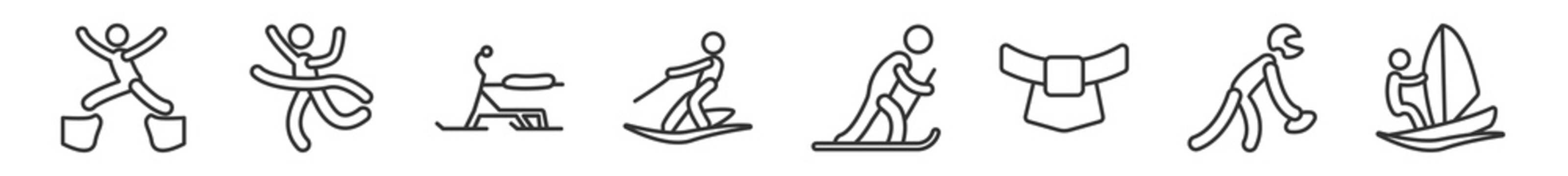 outline set of sports line icons. linear vector icons such as man jumping with opened legs, winning the race, skibob, water ski, skier skiing, man windsurfing. vector illustration.