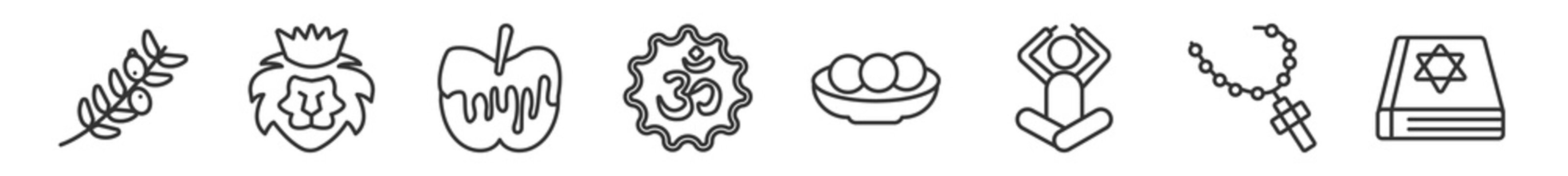 outline set of religion line icons. linear vector icons such as olive branch, lion of judah, apple and honey, hinduism, matzo ball soup, torah book. vector illustration.