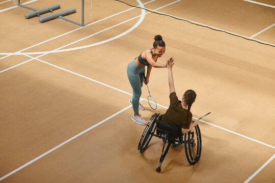 Wide angle view at young sportswoman in wheelchair playing badminton and high five partner during practice at indoor court, copy space