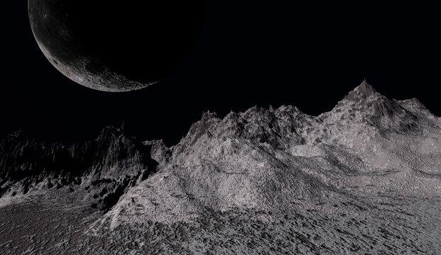 Mountain peaks at night, mountains terrain, 3d rendering