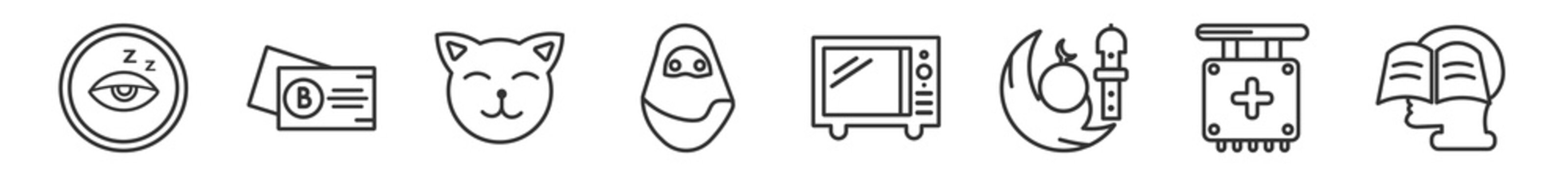 outline set of other line icons. linear vector icons such as sleepy, black abstract business card, japanese cat, arabian woman, microwave, self learning. vector illustration.