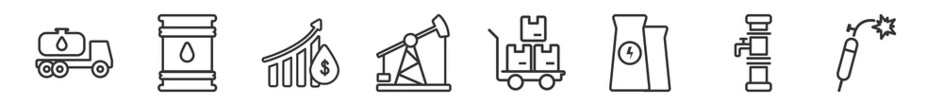 outline set of industry line icons. linear vector icons such as oil tanker, barrel, oil price, pump jack, pushcart, welding. vector illustration.