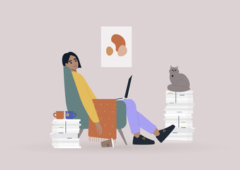 Working from home, a young female character sitting in an armchair surrounded by paperwork - fototapety na wymiar