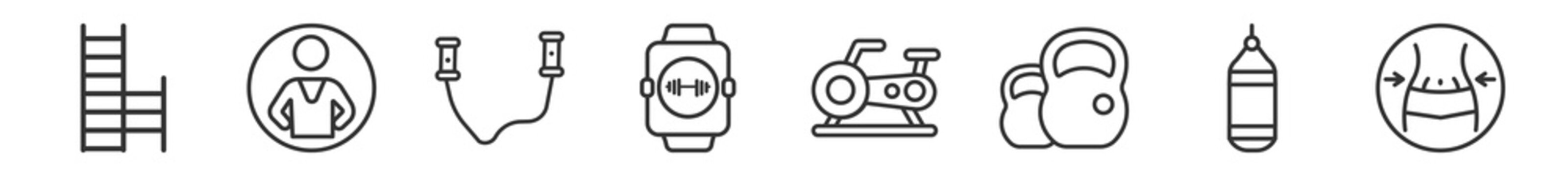 outline set of gymandfitness line icons. linear vector icons such as gym ladder, trainer, skipping rope, fitness watch, stationary bike, waist. vector illustration.