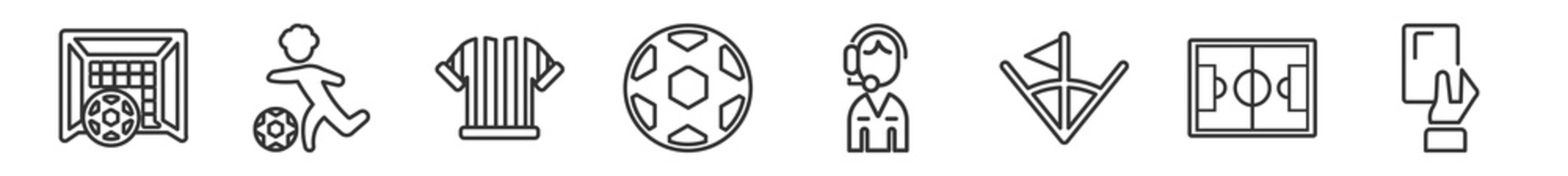 outline set of football line icons. linear vector icons such as soccer goal, player, referee jersey, soccer ball, commentator, card. vector illustration.