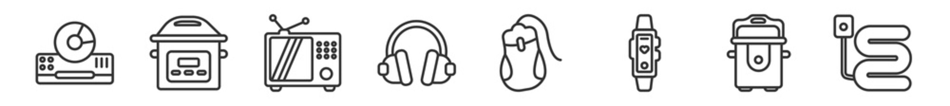 outline set of electronic devices line icons. linear vector icons such as dvd player, pressure cooker, television, devices, mouse, electric blanket. vector illustration.