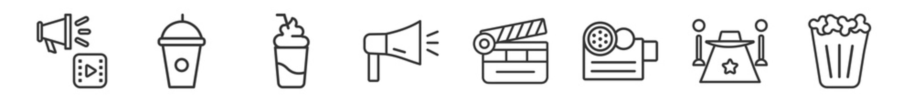 outline set of cinema line icons. linear vector icons such as cinematographic announcer, drink with straw, smoothie with straw, loud speaker facing right, movie clapper open, popcorn bag. vector